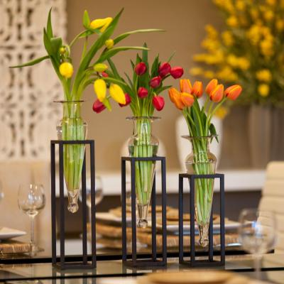 18 in., 16 in. and 14 in. Glass Decorative Amphora Vase on Square Tubing Metal Stands in Clear Glass (Set of 3)