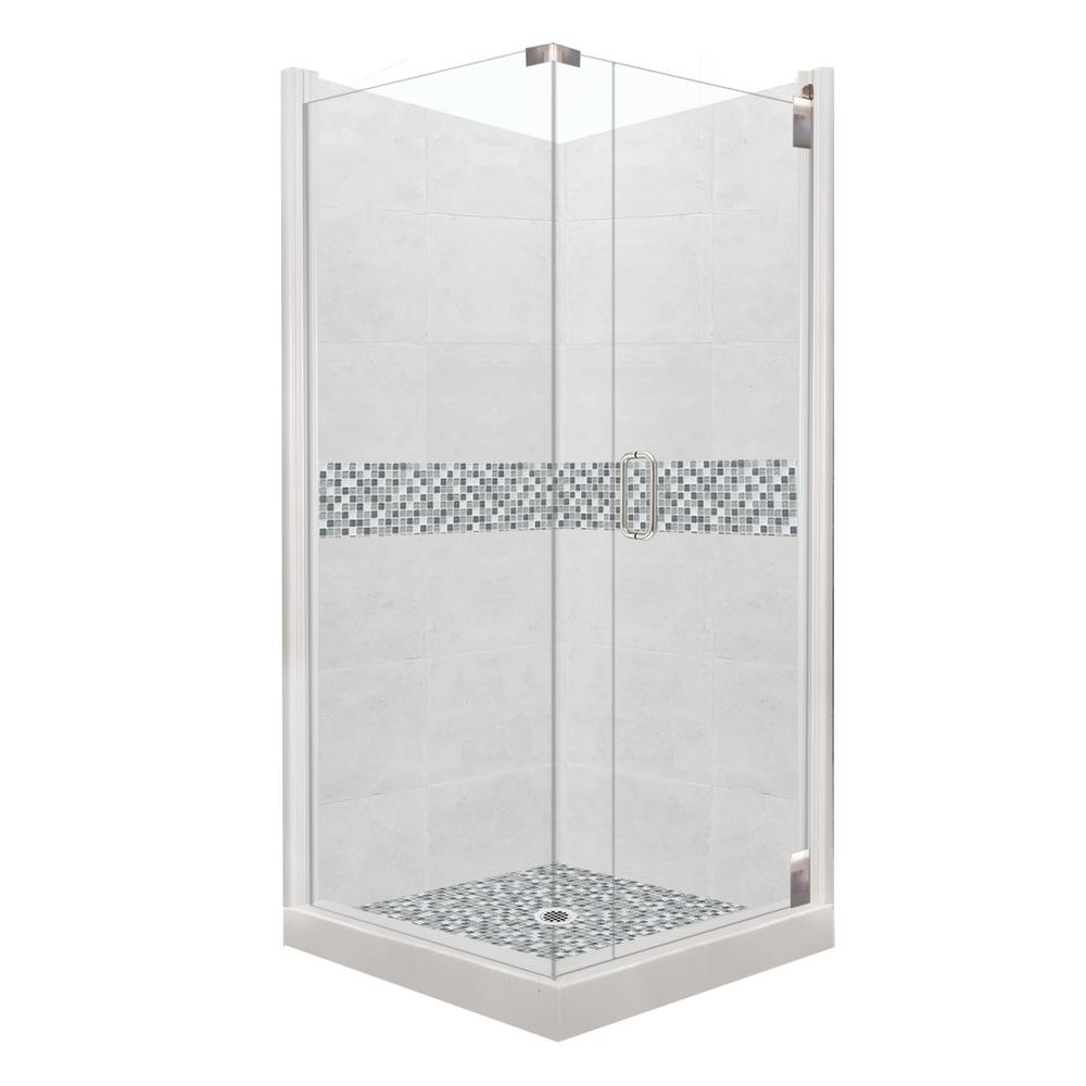 American Bath Factory Del Mar Grand Hinged 38 In X 80 Right Hand Corner Shower Kit Natural Buff And Chrome Hardware