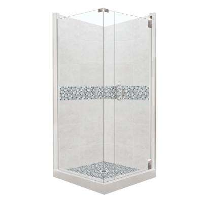 Del Mar Grand Hinged 42 in. x 42 in. x 80 in. Right-Hand Corner Shower Kit in Natural Buff and Chrome Hardware