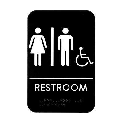 9 in. x 6 in. Unisex Handicap Braille Restroom Sign
