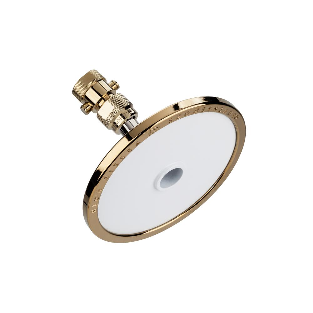 High Sierra Showerheads Tenaya PLUS 1-Spray 5 in. Round Fixed Showerhead and Valve with All Metal Parts in Brass with Powder Coated White Face