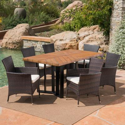 Taylor Multi-Brown 7-Piece Wicker Outdoor Dining Set with Beige Cushions
