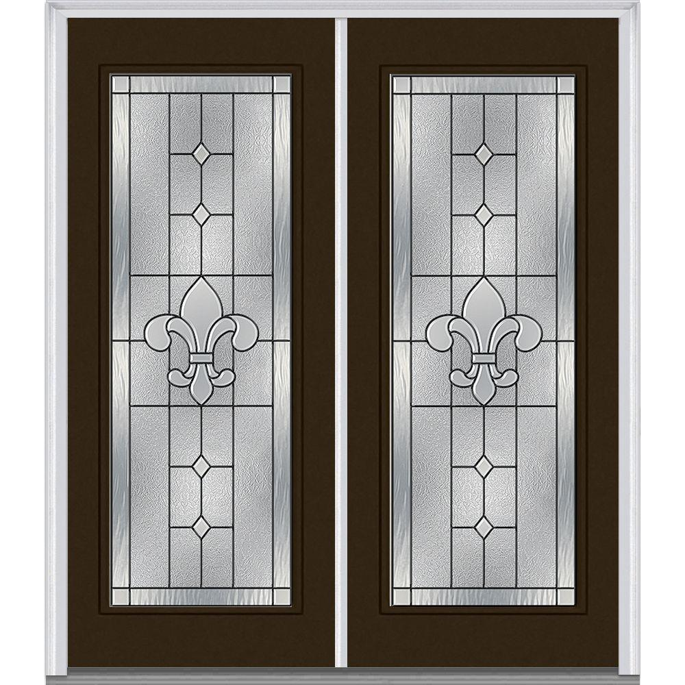 64 in. x 80 in. Carrollton Left-Hand Inswing Full Lite Decorative