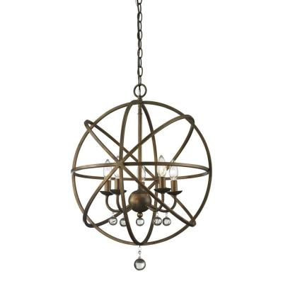 Royal 5-Light Golden Bronze and Clear Crystal Pendant