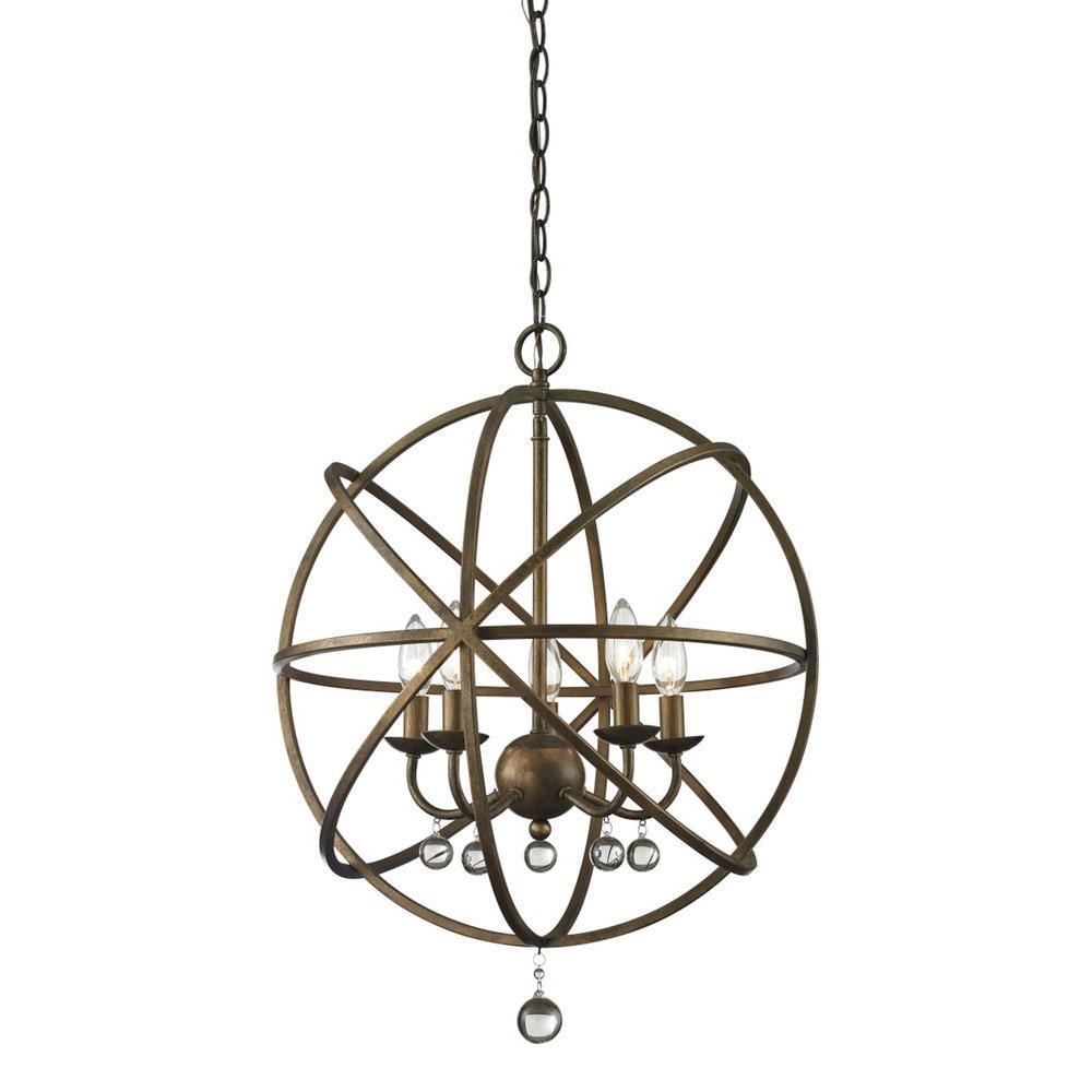 Filament Design Royal 5-Light Golden Bronze And Clear