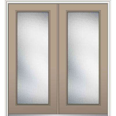 72 in. x 80 in. Micro Granite Right-Hand Inswing Full Lite Decorative Glass Painted Steel Prehung Front Door