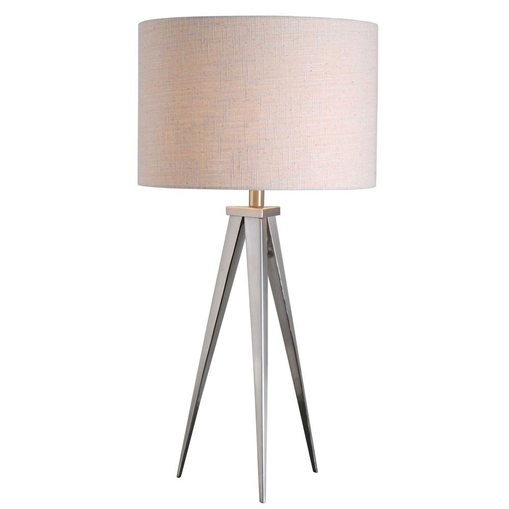 Kenroy home foster 29 in brushed steel table lamp 32262bs the brushed steel table lamp aloadofball Choice Image