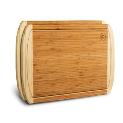 Large Bamboo Cutting Boards Good For Chopping Meat, Cheese and Vegetables (Set of 2)