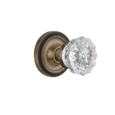 Rope Rosette Single Dummy Crystal Glass Door Knob in Antique Brass