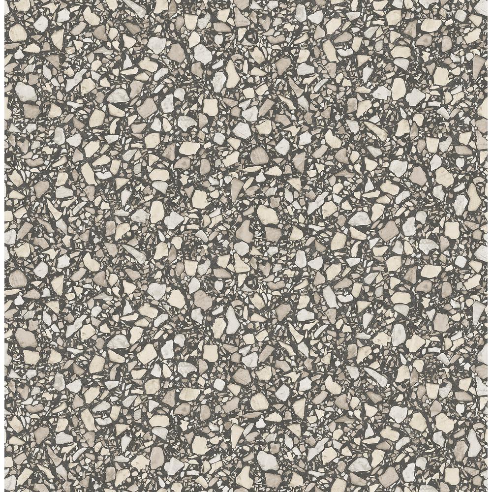 Aldrich Black Terrazzo Wallpaper Sample