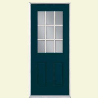 36 in. x 80 in. 9 Lite Night Tide Left Hand Inswing Painted Smooth Fiberglass Prehung Front Door, Vinyl Frame