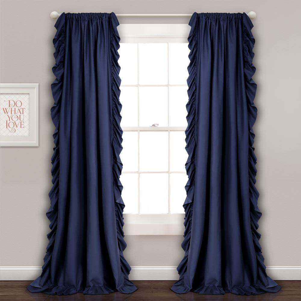 "Reyna Window Panels Navy 84"" x 54"" 2-Pc Set 100% Polyester"