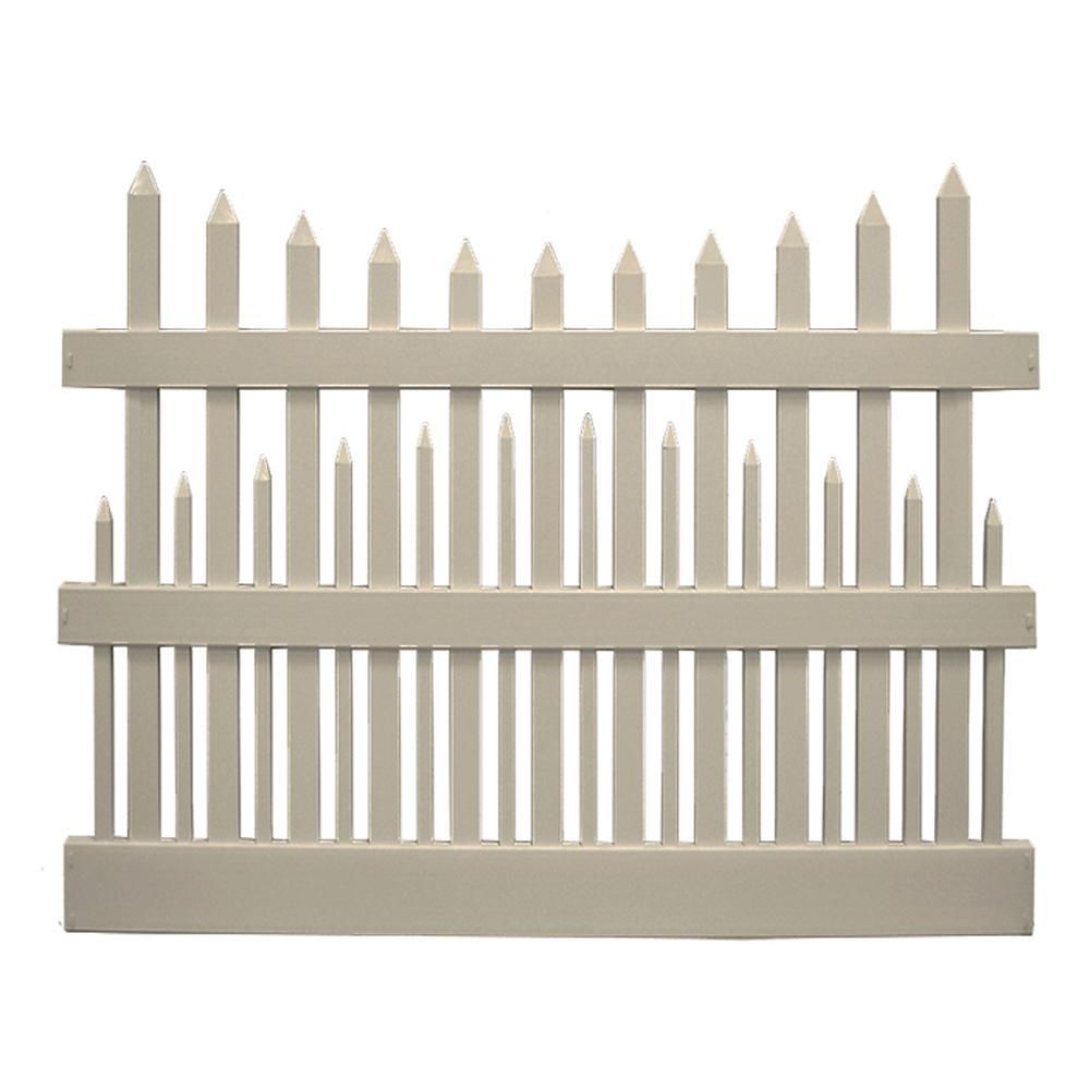 Salem 5 ft. H x 6 ft. W Khaki Vinyl Picket Fence Panel Kit