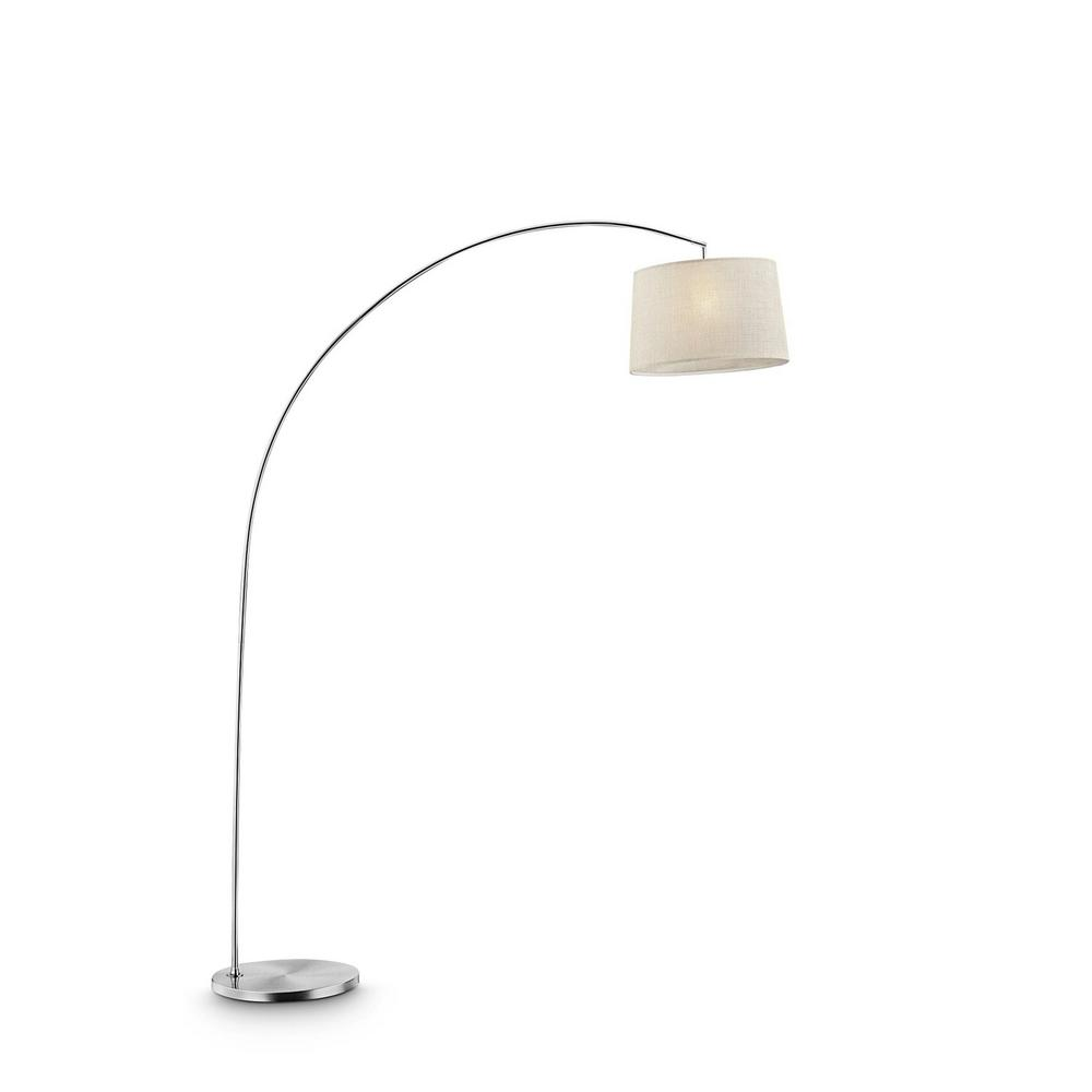 ORE International Oma 84.5 in. Beige Shade Silver Arch-Floor Lamp