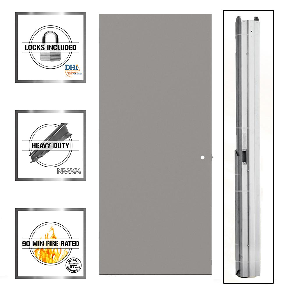 L.I.F Industries 36 in. x 80 in. Gray Flush Right-Hand Fire Proof Commercial Door with Knock Down Frame