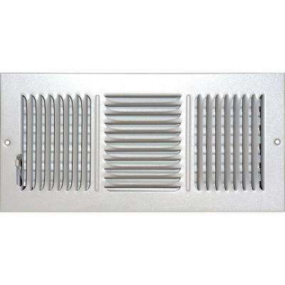 6 in. x 14 in. Ceiling/Sidewall Vent Register, White with 3-Way Deflection