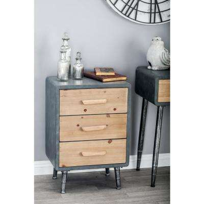 3-Drawer Gray Storage Chest with Light Brown Drawer Panels