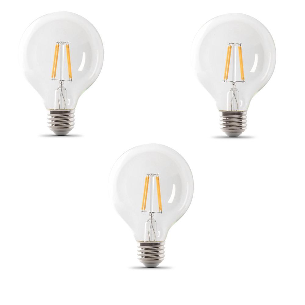 40-Watt Equivalent G25 Dimmable Filament CEC LED ENERGY STAR 90+ CRI Clear Glass Light Bulb, Daylight (3-Pack)