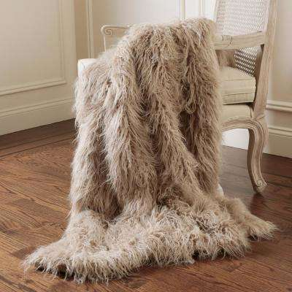 Faux Mongolian Lamb Fur 60 in. L Taupe Throw