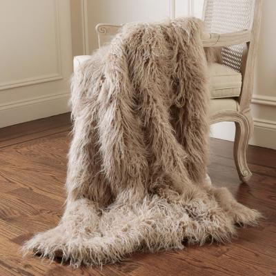 Taupe Polyester Throw Blanket