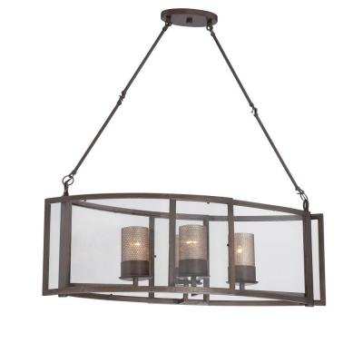 Jackson 4-Light Rustic Bronze Linear Pendant with Arched Windowpane Glass