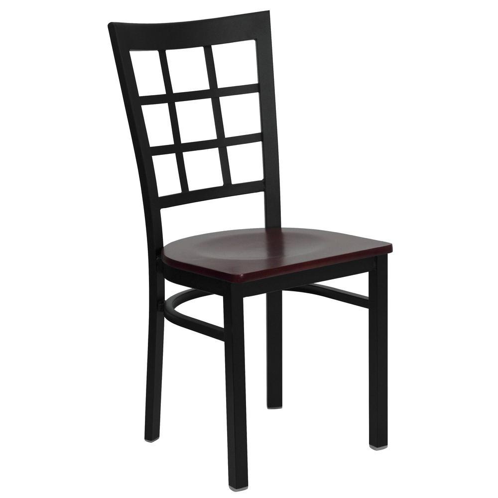 Flash Furniture Hercules Series Black Window Back Metal Restaurant Chair - Mahogany Wood Seat by Flash Furniture