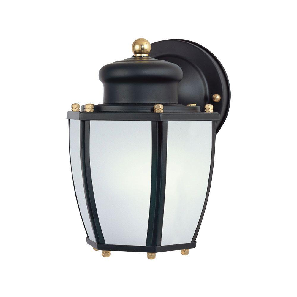 Westinghouse 1-Light Matte Black Steel Outdoor Wall Lantern with Dusk to Dawn Sensor and Frosted Curved Glass Panels