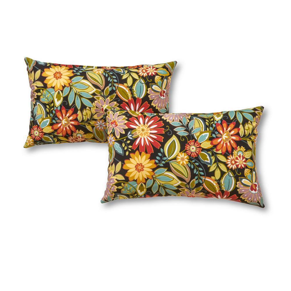 Jungle Floral Lumbar Outdoor Throw Pillow (2-Pack)