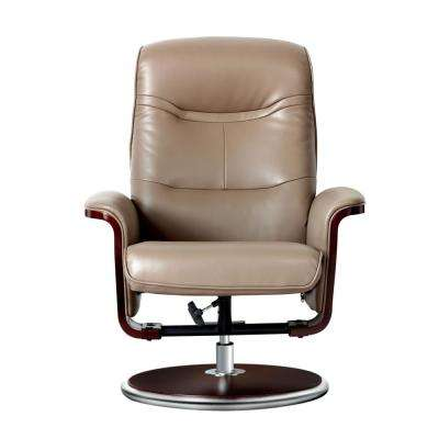 Milano Modern Bend Wood Latte Leather Swivel Recliner with Ottoman set
