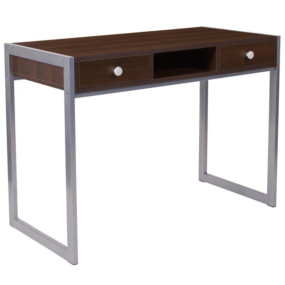 Dark Wood Grain Computer Desk