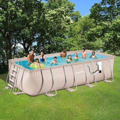 Light Wicker 9 ft. x 18 ft. Rectangular 52 in. Deep Metal Frame Above Ground Pool Package
