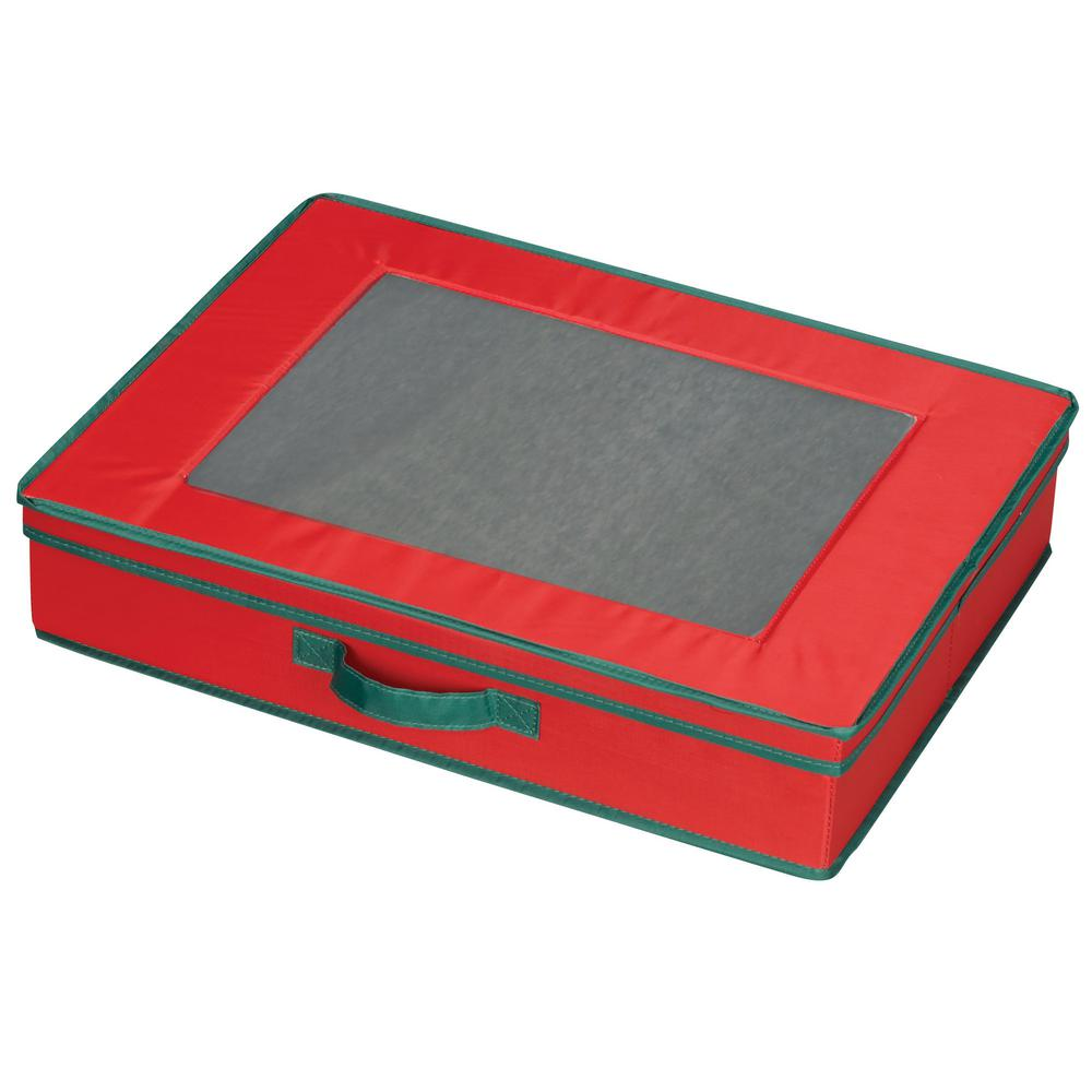 Holiday Tabletop Chest Red With Green Trim