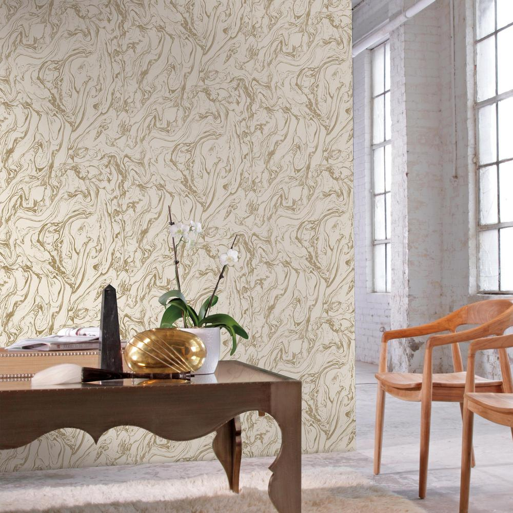 RoomMates 28.18 sq. ft. Gold Marble Peel and Stick Wallpaper ...