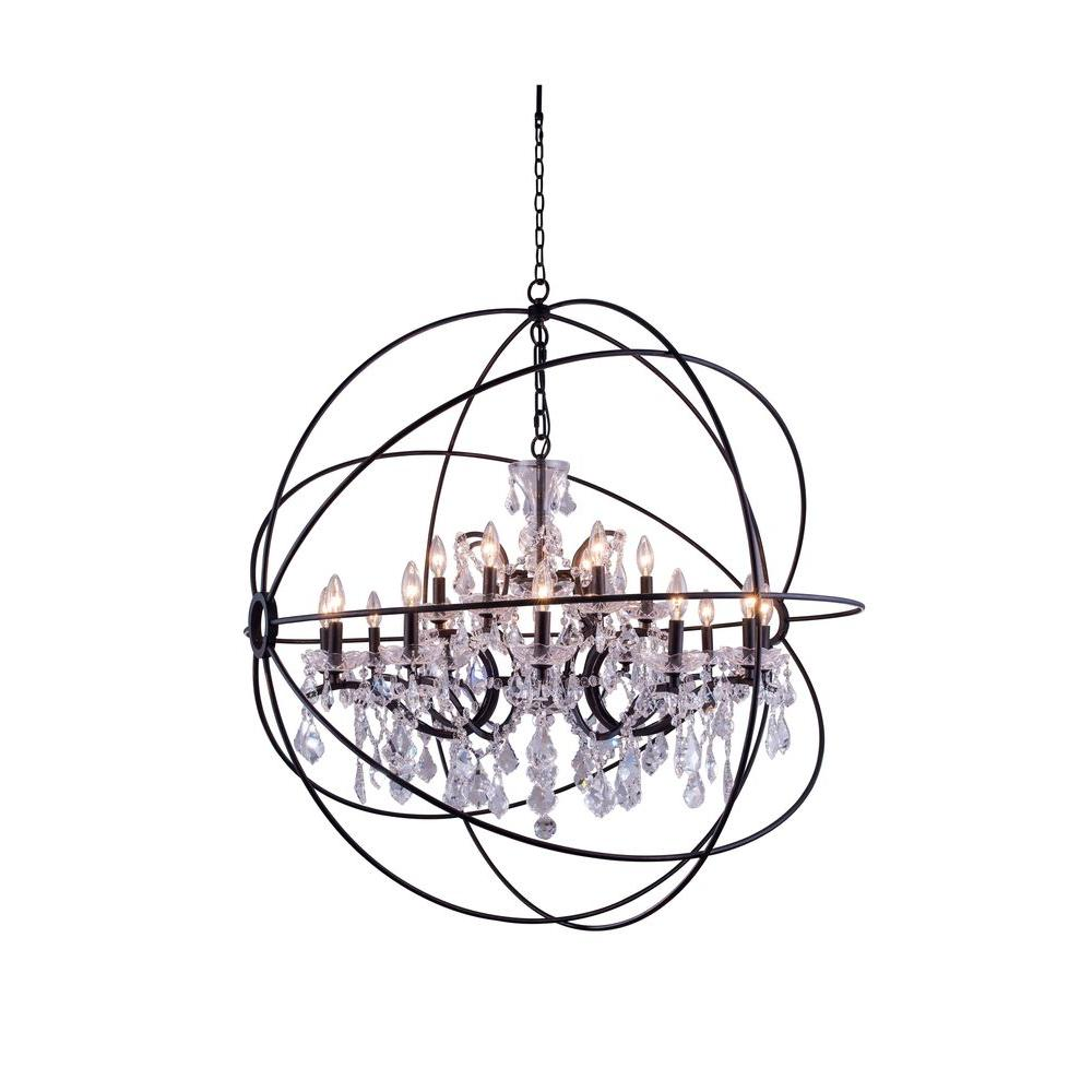 Elegant lighting geneva 18 light dark bronze chandelier with clear elegant lighting geneva 18 light dark bronze chandelier with clear crystal arubaitofo Choice Image