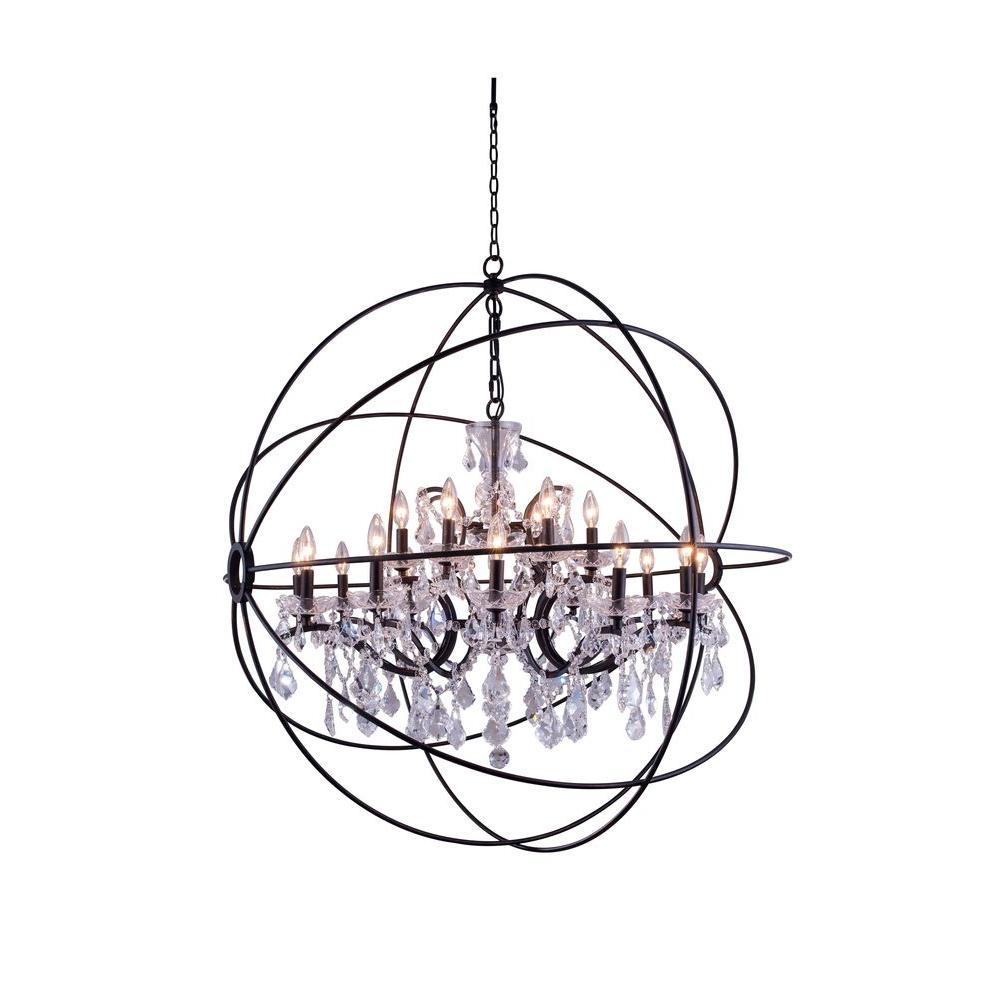 Geneva 18-Light Dark Bronze Chandelier with Clear Crystal