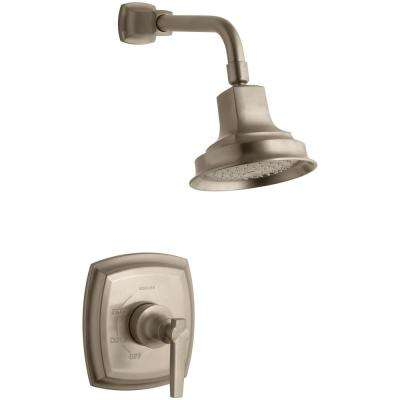 Margaux 1-Spray 6.5 in. 2.5 GPM Fixed Shower Head with Lever Handle in Brushed Bronze