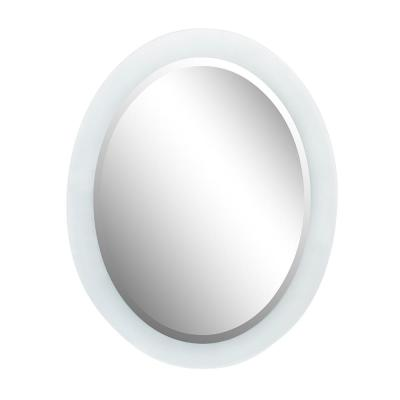 Salo 23 in. x 29 in. Oval Frameless Frosted Mirror