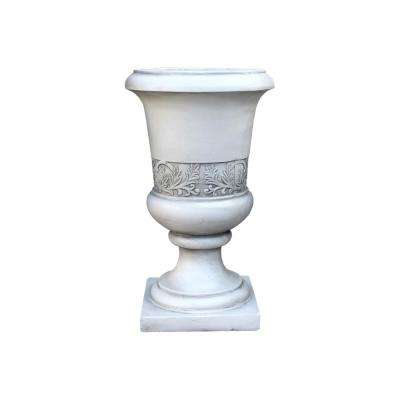 13.78 in. x 12.99 in. H Light Grey Lightweight Concrete Tall Fancy Large Urn Planter
