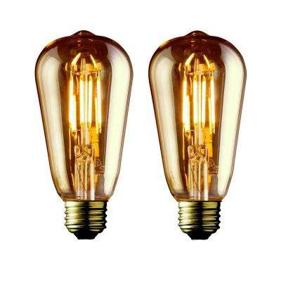 40W Equivalent Warm White ST21 Amber Lens Vintage Edison Dimmable LED Light Bulb (2-Pack)