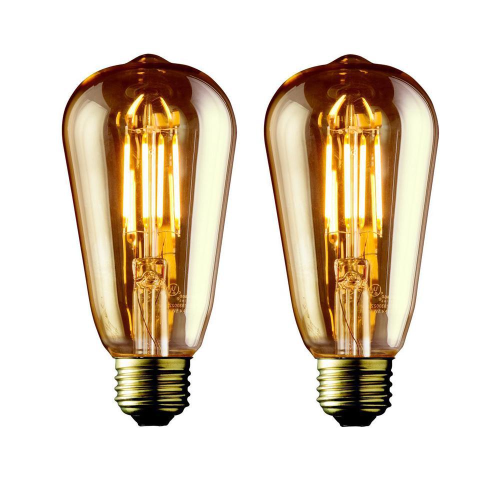 40W Equivalent Warm White ST21 Amber Lens Vintage Edison Dimmable LED Light Bulb (2-Pack)