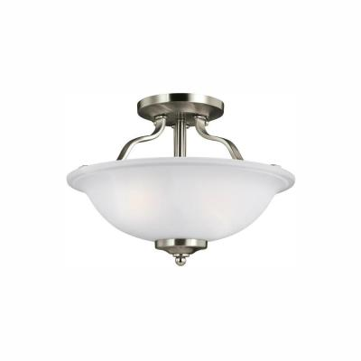Emmons 2-Light Brushed Nickel Semi-Flush Mount with LED Bulbs