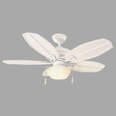 Palm Beach III 48 in. Indoor/Outdoor Matte White Ceiling Fan with Light Kit