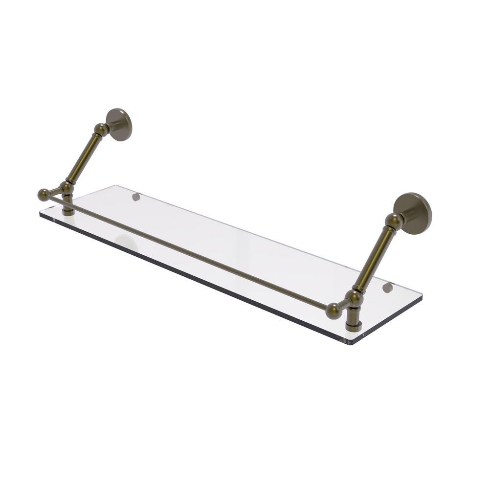 Prestige Skyline 30 in. Floating Glass Shelf with Gallery Rail in Antique Brass