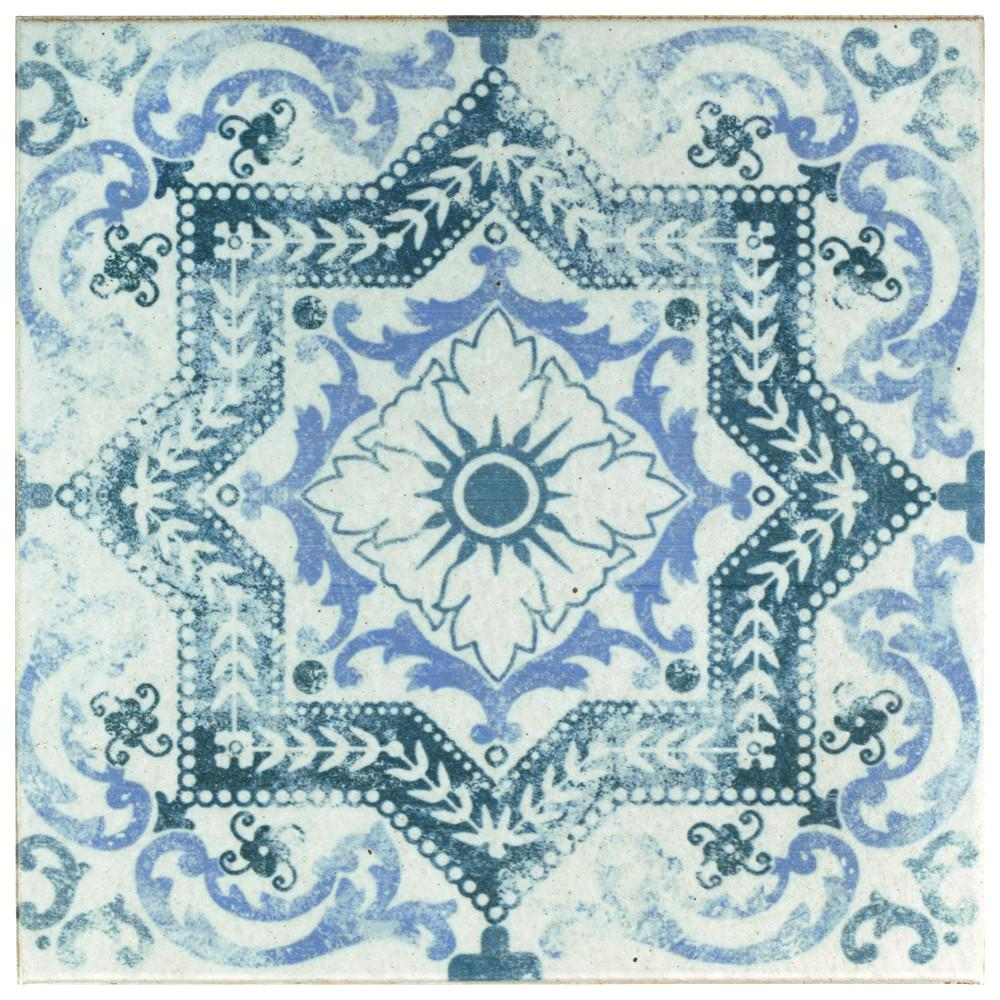 MerolaTile Merola Tile Klinker Alcazar Petunia Encaustic 12-3/4 in. x 12-3/4 in. Ceramic Floor and Wall Quarry Tile, White and Blue / Mixed Finish