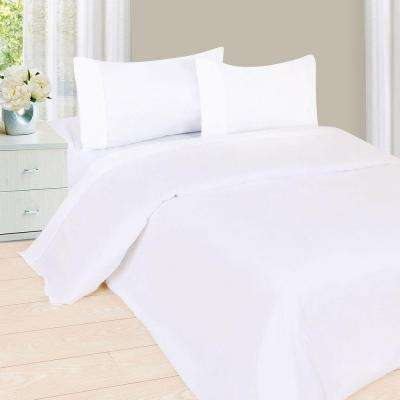 1200 Series 4-Piece White 75 GSM Full Microfiber Sheet Set