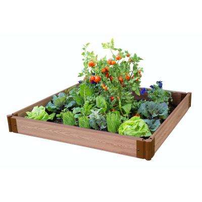 One Inch Series 4 ft. x 4 ft. x 5.5 in. Classic Sienna Composite Raised Garden Bed Kit