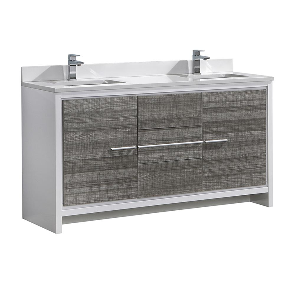 Allier Rio 60 in. Modern Bathroom Vanity in Ash Gray with