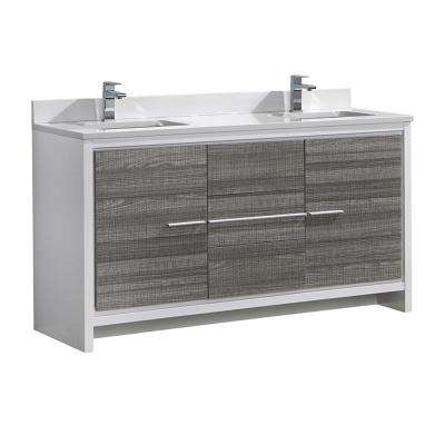 Allier Rio 60 in. Modern Bathroom Vanity in Ash Gray with Double Ceramic Vanity Top in White