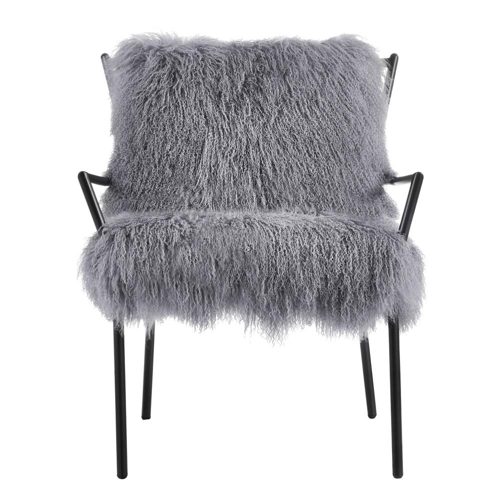 Lena Grey Iron Sheepskin Chair