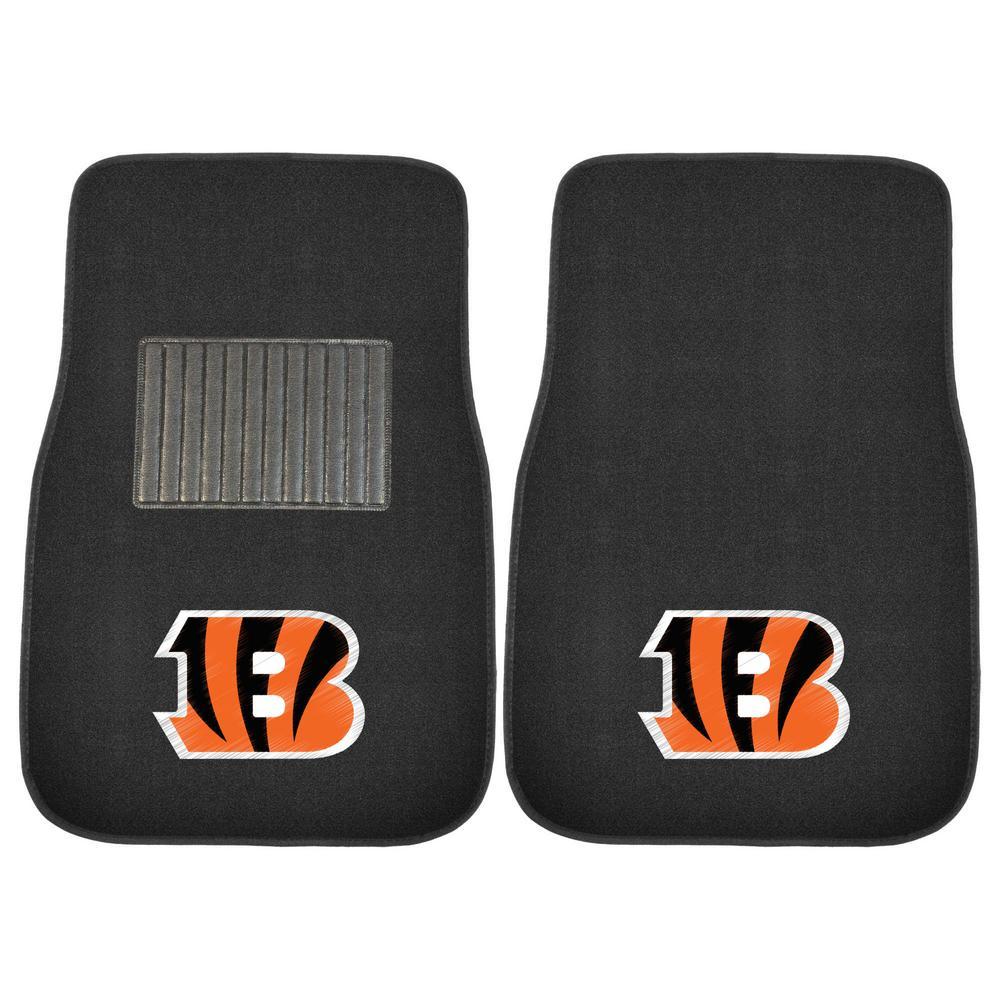 NFL - Cincinnati Bengals 17 in. x 25.5 in. 2-Piece Set of Embroidered Car Mat